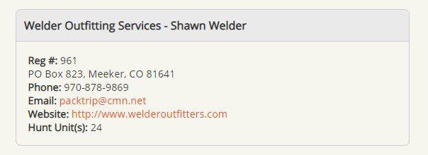 COA (Colorado Outfitters Association) listing