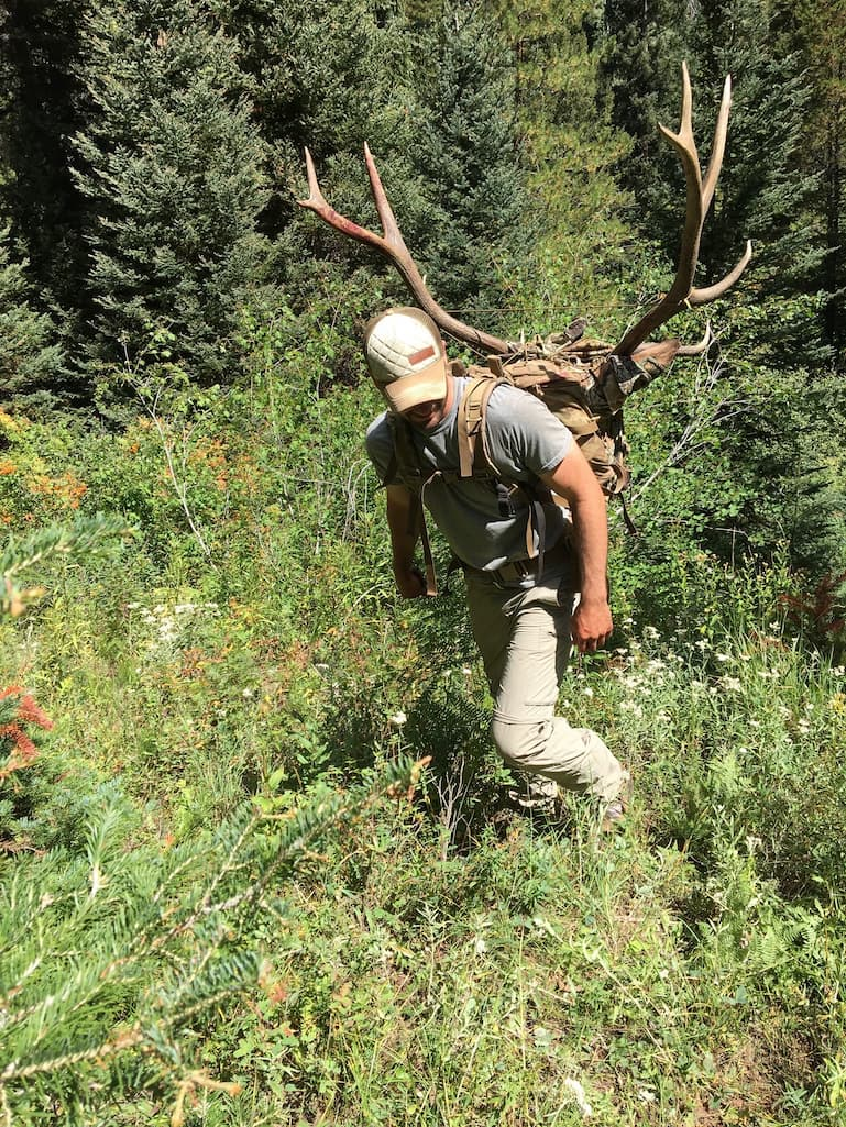 Ethan with elk on back